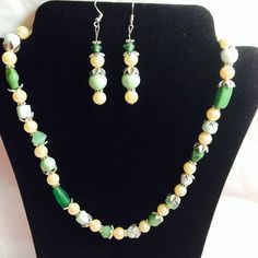Green goddess necklace and earrings epsteam by betsstuff on Etsy, $35.00