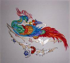 "Persian Illuminations (Tazhib) artwork by Mojgan Lisar: Ghoghnoos "" proud """