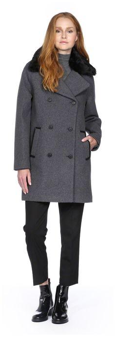 SOIA & KYO - JILL GREY BOXY STYLE WOOL JACKET WITH FUR REMOVABLE TRIM COLLAR FOR WOMEN. WWW.SOIAKYO.COM #wool #womens #coat #soiakyo #jacket #fw14