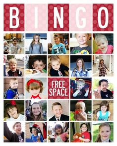 Get the free template to make this Bingo Game using your own photos. So unique and clever. The kids will get a kick out of it! GREAT FAMILY REUNION ACTIVITY or FAMILY HOME EVENING!  NOTE: (THIS WOULD BE CUTE TO DO RS BINGO, YW BINGO  OR PRIMARY BINGO FOR A CHURCH ACTIVITY)