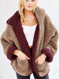 Reversible Faux Fur Hooded Coat - MYNYstyle - 1