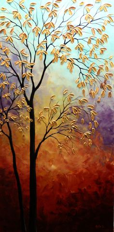 Original Autumn Tree Painting Abstract Contemporary Large Artwork.Impasto.Palette Knife.Autumn Tree Painting 48""