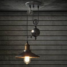 Only buy best industrial retro pulley pendant light restaurant bar ceiling hanging lamp fixture sale online store at wholesale price. Pulley Pendant Light, Rustic Pendant Lighting, Vintage Industrial Lighting, Rustic Light Fixtures, Pendant Light Fixtures, Bar Lighting, Pendant Lamp, Pendant Lights, Industrial Wall Lights