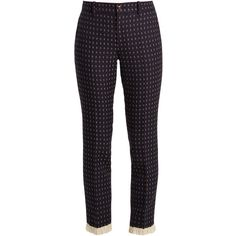Gucci Geometric-embroidered wool-twill trousers ($1,150) via Polyvore featuring pants, navy, slim fitted pants, embroidered pants, twill pants, slim wool pants and gucci pants