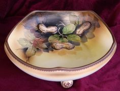 Footed bowl with raised peanuts - hand painted Nippon