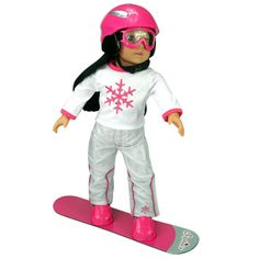 Your 18 inch doll will slide down the snowy mountain slopes like a pro with this fun snow board, goggles, and helmet set! Great for a holiday gift!