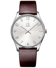 Calvin Klein Watch, Men's Swiss Classic Brown Leather Strap 38mm K4D211G6 - Men's Watches - Jewelry & Watches - Macy's