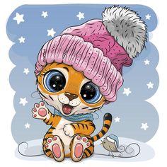 Cartoon Tiger In A Pink Hat On A Blue Background Stock Vector - Illustration of elegance, kids: 210007159
