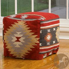 Christopher Knight Delaware Wool Pouf Ottoman - Overstock Shopping - Great Deals on Christopher Knight Home Ottomans Pouf Ottoman, Native Design, Native American Fashion, Southwestern Style, Geometric Designs, Inspired Homes, Floor Pillows, Hand Weaving, Delaware