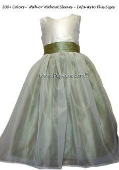 23ce1a6f54c Custom Sage Green and New Ivory Flower Girl Dresses Style 301