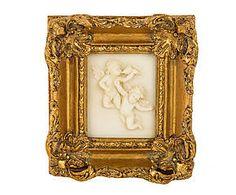 Cornice dorata con decoro a rilievo le vau - 18x19x4 cm