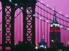 Bing Image Archive: Manhattan Bridge and the Empire State Building illuminated with red, white, and blue lights in New York City, New York (© age fotostock/SuperStock)(Bing United States) Manhattan Bridge, Lower Manhattan, Brooklyn Bridge, Voyage New York, Blue Building, I Love Nyc, Dream City, George Washington Bridge, Night City