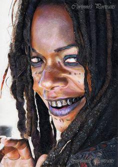 "Calypso/Tia DALMA (Naomie HARRIS) by Corinne Vuillemin- Crayons de couleur (Faber-Castell ""polychromos"")/Colored pencils (Faber-Castell ""polychromos"") - - Daler Rowney 220 g - January 2013 Voodoo Costume, Voodoo Halloween, Halloween Makeup, Halloween Costumes, Voodoo Priestess Costume, Halloween Ideas, Maquillage Voodoo, Calypso Pirates, Voodoo Makeup"