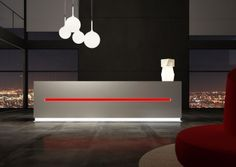 Salve reception desk is a stunning Italian linear reception counter range with LED illumination suited to modern commercial reception areas. White Office Furniture, White Desk Office, Reception Counter, Reception Areas, Reception Desks, Iceberg, Office Space Design, Ceiling Lights, Prestige