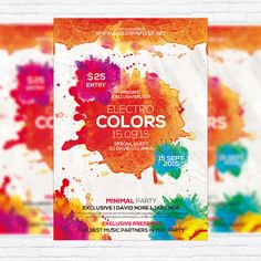 Electro Colors - Premium Flyer Template + Facebook Cover http://exclusiveflyer.net/product/electro-colors-premium-flyer-template-facebook-cover/