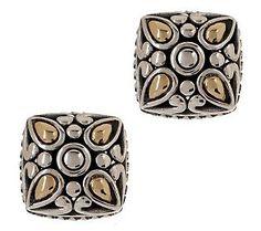 Angela By John Hardy Sterling & 14K Cushion Shape Stud Earrings