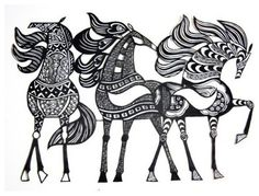 Zentangle horses? These would be gorgeous as embroidery!