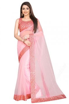 Baby Pink net saree with pink art silk blouse. Embellished with stone work. Saree with Square Neck, Sleeveless. It comes with unstitch blouse, it can be stitched to 32 to 58 sizes. #saree #indianSaree #sareeonline #festivalwear #partywear #netsaree.