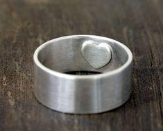 A hidden reminder. Super Cute. Mens wedding ring secret heart (E0218)