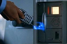 Ericsson Phone, Tomorrow Never Dies (1997)Stand back! The year is 1997 and James Bond has... a mobile phone!  1997 was about the time I also got my first mobile phone, but that giant gray brick was nothing like this. Bond's cell couldn't tweet or check in, but it could pick locks, scan fingerprints, and act as a stun gun (see pic), also as a remote control for a luxury sedan!