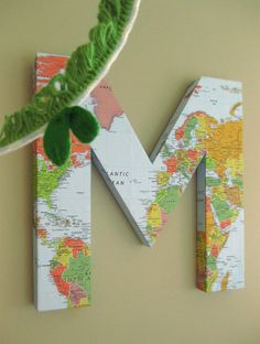 DIY:  3-D Map Covered Letter Tutorial - tutorial also explains how to make s 3-D letter out of foam core board.