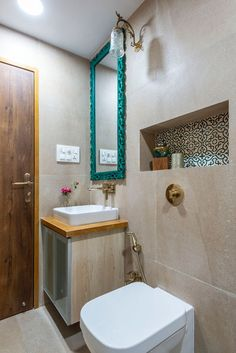 Lovely bathroom design ideas for a distressed mirror and patterned tiles indian bathroom, teal mirrors Small Bathroom Interior, Top Bathroom Design, Modern Master Bathroom, Indian Bathroom, Elegant Bathroom, Bathroom Interior, Modern Interior Design, Bathroom Tile Designs, Indian Interiors