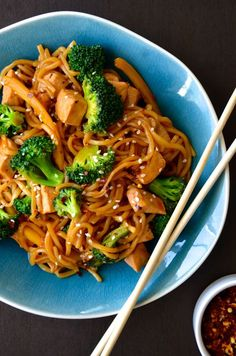 Chicken and Broccoli Stir-Fry. WOULD DEFIENTLY USE RICE NOODLES!! YUM!!