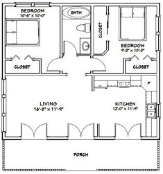 30x26 House -- #30X26H2C -- 780 sq ft - Excellent Floor Plans
