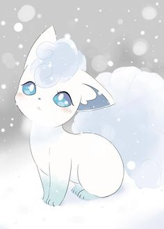 Alolan Vulpix is SO ADORABLE, i love ice types and think they des. - Alolan Vulpix is SO ADORABLE, i love ice types and think they deserve more of a spotlight as they are often get put to one side for other types of Pokemon… Pet Anime, Anime Animals, Anime Art, Sun Pokemon, Fan Art Pokemon, Pokemon Tattoo, Baby Pokemon, Pokemon Fusion, Pokemon Cards