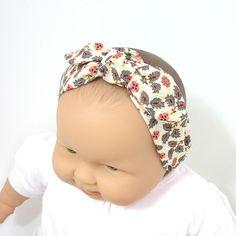 Bandeau bébé imprimé fleurs et cachemire multicolore à nouer, Tricotmuse, plusieurs tailles au choix : Mode Bébé par tricotmuse