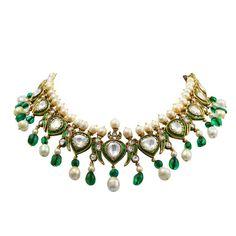 Vintage Indian Natural Pearl  Diamond Enamel Necklace #polki #stunning