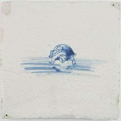 Antique Dutch Delft tile in blue with a turtle, 17th century