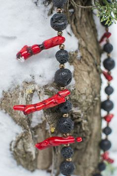 Oh god lovely large lava beads, hematite and unproccesed red corals... ❤