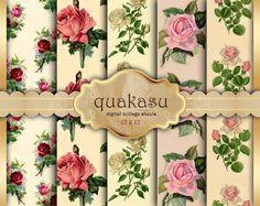 Delicate Roses - Digital Paper Pack Digital Paper Scrapbook Paper Digital Collage Sheet Floral Background Roses