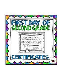 First Day of School Certificate (Second Grade) Editable