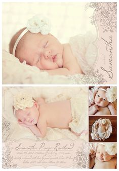 Printable Blush Pink & Ivory Vintage Floral Flower Baby Girl Photo Birth Announcement - 4x6 or 5x7, JPG or PDF www.1031Photography.com