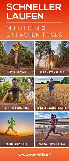 Mit diesen 6 einfachen Tricks, wirst du schon bald schneller laufen können. Regelmäßig im Training angewendet, kannst du deine Running-Performance dadurch nachhaltig verbessern. www.runskills.de