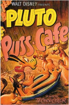 """Puss Café"" Pluto Disney Cartoon short movie poster"