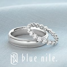 His and hers wedding bands from #BlueNile. That band would be perfect with my ring :)