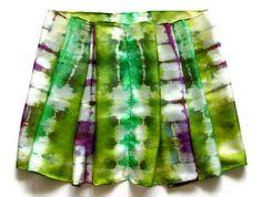 Springtime Chartreuse and Red Violet Hand Dyed Silk by SilkMari, $39.00