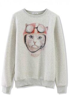 Cat Print Sweater in Grey