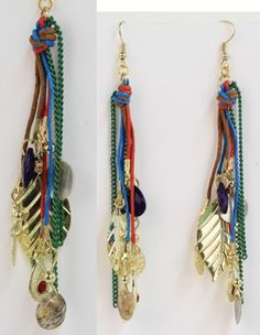 Tangled Pretty- Colorful multi-strand and chain earrings with assorted stone and gold charms. Approx. length 4.5in.     Color: As Shown  Price: $11.00