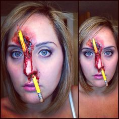 You see kids! this is the kind of thing that happens when you keep stickin' pencils up your nose!