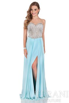 Sweetheart prom gown with crystal embellished bodice. This prom dress   has a corset style detail at the back and chiffon A-line skirt with   thigh high slit at left leg.