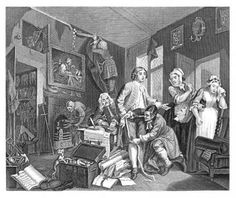 The Rakes Progress. Plate 1 the Young Hero Takes Possession of the Misers Effects. Wm. Hogarth