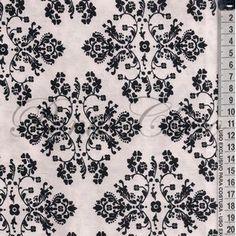 Tecido Estampado - Losangos Floral Branco com Preto Cor5 - Des.60366 Floral - 0,50x1,50mt - Maluhy