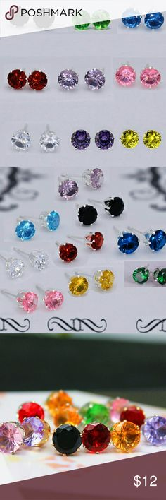 8mm Platinum Plated Austrian Crystal Earrings At 8mm these platinum plated studs are the perfect balance they are not too big to stay casual, yet big enough to make a statement. Choose from Lavender, Clear, Black, Cobalt Blue, Ruby Red, Canary Yellow, Green and Pink Jewelry Earrings