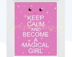 Madoka Magica, Anime Poster, Madoka Magica Poster, Keep Calm And Become A Magical Girl, Wall Art, Keep Calm Poster Printable Anime Art Print