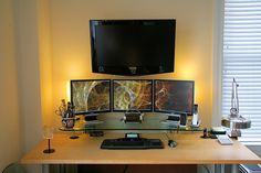 home office ideas for women | home office electronics; home office with multiple displays