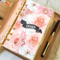 Personalized Pink and White floral Dashboard for Filofax and Kate Spade style planners by MyNewestAddiction on Etsy https://www.etsy.com/listing/251915342/personalized-pink-and-white-floral